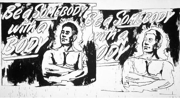 Andy Warhol, Be a Somebody with a Body (2 Times), c. 1985–86 Synthetic polymer paint and silkscreen ink on canvas, 116 × 212 inches (294.6 × 538.5 cm)