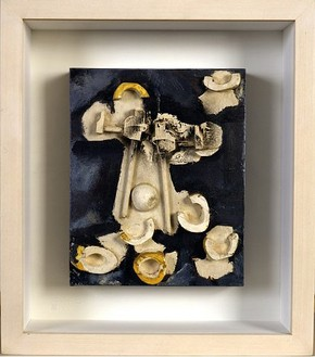 David Smith, Untitled (relief painting), 1958 Metallic auto spraypaint, plaster and wood, 10 × 8 × 3 ½ inches (25.4 × 29.3 × 8.9 cm)