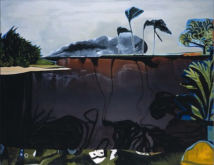 Dexter Dalwood, Bay of Pigs, 2004 Oil on canvas, 105 ½ × 136 ⅞ inches (268 × 347.5 cm)