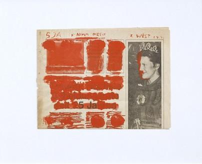 Franz West, 5 Ja >>Nimm dies<<, 1977 Gouche on newspaper, 9 ⅛ × 12 ¼ inches (23 × 31 cm)