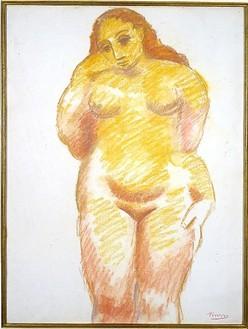 Pablo Picasso, Femme Nue Debout, 1906 Pastel on paper, 25 × 18 ⅞ inches (63.5 × 47.9 cm)