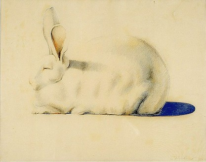 Wayne Thiebaud, Rabbit, 1970–71 Colored pencil and crayon on paper, 18 ½ × 23 ½ inches (47 × 59.7 cm)