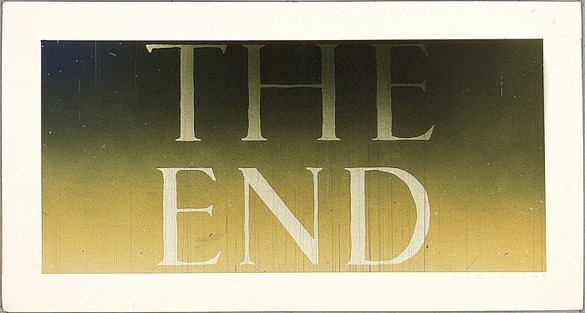 Ed Ruscha, The End #43, 2003 Acrylic, ink and pencil on museum board, 16 ⅛ × 30 1/16 inches (41 × 76.4 cm)