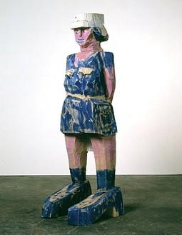 Georg Baselitz, Donna via Venezia, 2004 Poplar and oil colors, 106 ¾ × 34 ⅜ × 37 ¾ inches (271 × 87 × 96 cm)