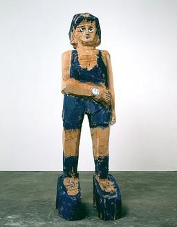 Georg Baselitz, Frau Ultramarin, 2004 Cedar and oil color, 116 ⅜ × 37 × 42 ⅛ inches (295.5 × 94 × 107 cm)
