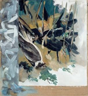 Georg Baselitz, Der Falke, 1971 Oil and acrylic on canvas, 70 ⅞ × 66 ⅞ inches (180 × 170 cm)