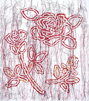 Ghada Amer, The Big Red Rose-RFGA, 2004 Acrylic, embroidery and gel medium on canvas, 72 × 64 inches (182.9 × 162.6 cm)