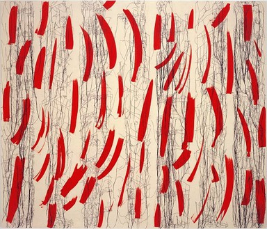 Ghada Amer, Red Strokes on Raw Canvas - RFGA, 2004 Acrylic, embroidery & gel medium on canvas, 72 × 84 inches (182.9 × 213.4 cm)