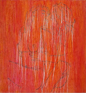 Ghada Amer, Girls in White-RFGA, 2004 Acrylic embroidery & gel medium on canvas, 48 × 52 inches (121.9 × 132.1 cm)