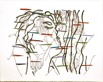 Ghada Amer, Undercover, 2004 Acrylic, colored pencil and embroidery on paper, 22 ½ × 28 inches (57.2 × 71.1 cm)