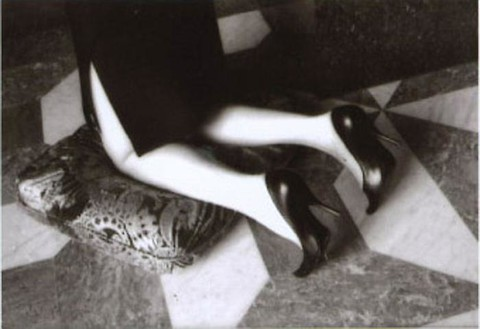 Helmut Newton, Kneeling woman, Hotel Negresco, Nice, 2002 Silver gelatin print, 43 ¼ × 63 inches (109.9 × 160 cm), edition of 3