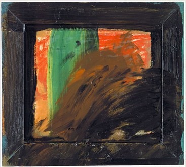 Howard Hodgkin, Autumn in the House, 1995–96 Oil on wood, 23 × 25 ⅞ inches (58.4 × 65.7 cm)© Howard Hodgkin Estate