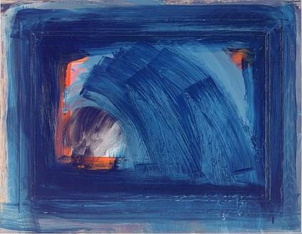 Howard Hodgkin, Grief, 1999–2002 Oil on wood, 35 × 45 ¼ inches (88.9 × 115 cm)