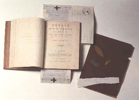 Joseph Beuys, Notfalls leben wir auch ohne Herz, 1965–75 Brown drawing, two gilded laurel leaves, razor blade, EKG of Joseph Beuys and Braunkreuz with the stamp: Hauptstrom, 16 ½ × 10 ⅝ × 1 ⅝ inches (42 × 27 × 4 cm)