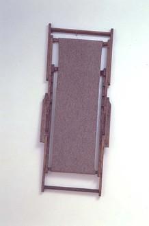 Joseph Beuys, GroBer aufgesogener Liegender im Jenseits wollend gestreckter, 1982 Wood (frame of deckchair) and felt, 61 ½ × 26 × 2 inches (156 × 66 × 5.1 cm)