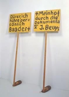 Joseph Beuys, Durer ich fuhre personlich Baader + Meinhof durch die Documenta V, 1972 Chip board, wood, felt, fat, planks, c. 78 ¾ × 78 ¾ × 15 ¾ inches (200 × 200 × 40 cm)