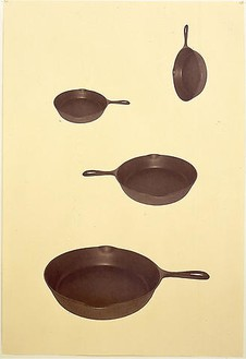 Robert Therrien, No title (skillets), 2003 Digitally printed unique photograph with graphite on paper, 65 ½ × 46 ¼ inches framed (166.4 × 117.5 cm)