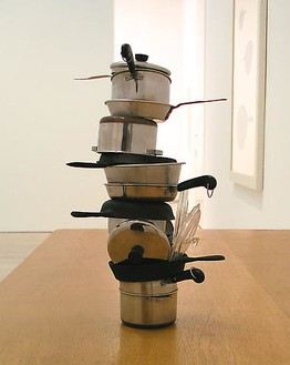 Robert Therrien, No title (mini stacked pots and pans I, red knob), 2003 Stainless steel and plastic, 16 × 9 × 9 inches (40.6 × 22.9 × 22.9 cm)