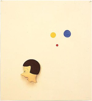 Robert Therrien, No title (Joyce with red, yellow and blue dots), 2003 Enamel and inkjet on paper, 37 ¾ × 34 ½ inches framed (95.9 × 87.6 cm)