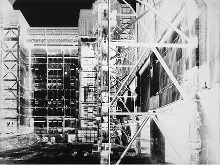 Vera Lutter, Battersea Power Station, XVII: July 24, 2004, 2004 Unique gelatin silver print, 83 ½ × 111 ½ inches (212.1 × 283.2 cm)
