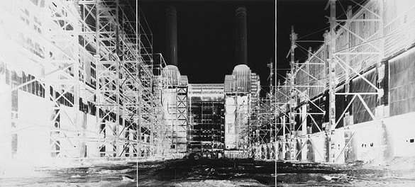 Vera Lutter, Battersea Power Station, III: July 5, 2004, 2004 Unique gelatin silver print, 76 ¾ × 167 inches (194.9 × 424.2 cm)