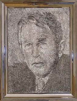 Richard Artschwager, Geo. W. Bush, 2002 Acrylic, fiber panel on celotex in artist's frame, 26 × 20 inches (66 × 50.8 cm)