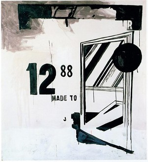 Andy Warhol, Storm Door (1), 1961 Casein and oil paint on linen, 46 × 42 inches (116.8 × 106.7 cm)