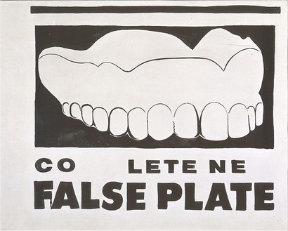Andy Warhol, False Plate, 1961 Water-base paint on cotton, 36 × 44 ¾ inches (91.4 × 113.7 cm)