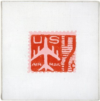 Andy Warhol, Red Airmail Stamp, 1962 Acrylic and pencil on linen, 6 × 6 inches (15.2 × 15.2 cm)