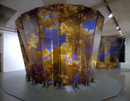 Brian Clarke, Lamina, 2005 (view 1) Wall: Triple laminate float glass and dot matrix; Base: painted steel, 144 × 1188 inches (366 × 3000 cm)