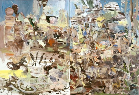 Cecily Brown, Park, 2004 Oil on linen, Diptych: 77 × 110 inches overall (195.6 × 279.4 cm)