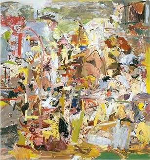 Cecily Brown, Thanks, Roody Hooster, 2004 Oil on linen, 103 × 97 inches (261.6 × 246.4 cm)