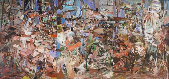 Cecily Brown, Girl Eating Birds, 2004 Oil on linen, Triptych: 77 × 165 inches overall (195.6 × 419.1 cm)