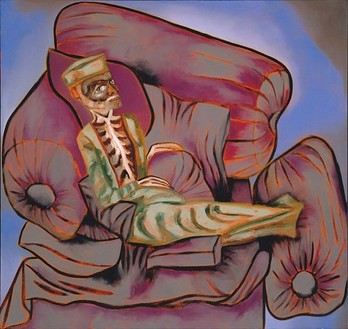 Francesco Clemente, Self Portrait as an Ailing Courtier, 2005 Oil on linen, 75 × 79 inches (190.5 × 200.7 cm)