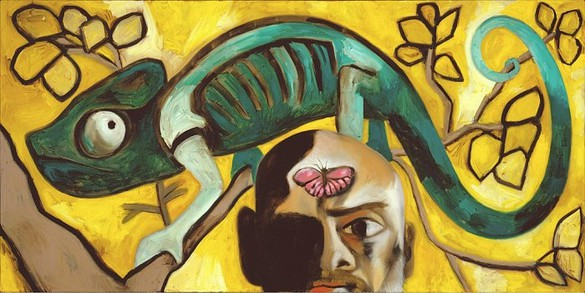 Francesco Clemente, Self Portrait with a Chamelion, 2005 Oil on linen, 46 × 92 ¼ inches (116.8 × 234.3 cm)