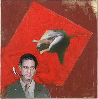 Franz West, Eating Fish, 2005 Mounted collage on canvas, 53 1/3 × 51 ⅜ inches (135.5 × 130.5 cm)