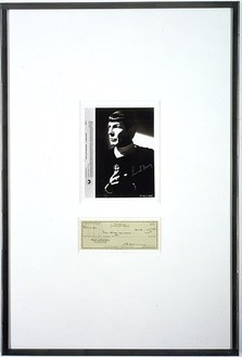 Richard Prince, Untitled (publicity), 2004 Publicity photograph and check, 37 × 25 inches (94 × 63.5 cm)© Richard Prince
