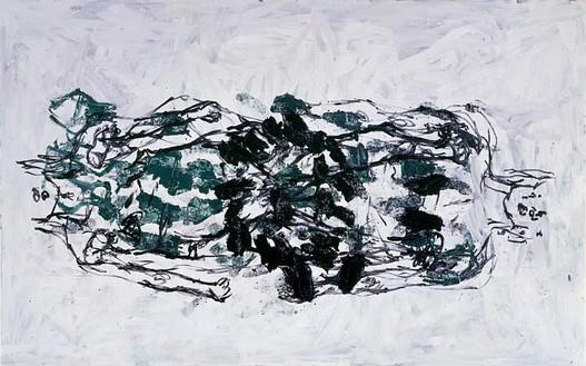 Georg Baselitz, Bilddrei, 1991 Oil on canvas, 112 ½ × 180 inches (285.8 × 457.2 cm)