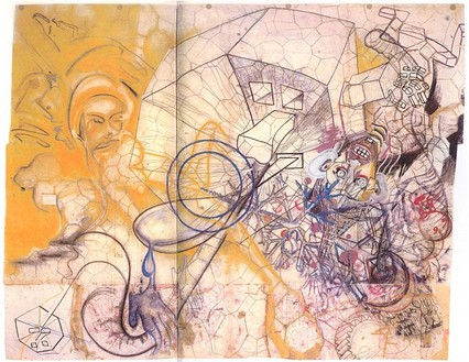 """Sigmar Polke, The Ride on the Eight of Infinity, II (The Motorcycle Bride), 1969–71 Mixed media, 12' 6"""" × 15' 1"""" (381 × 460 cm)"""