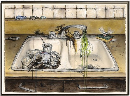 Mark Licari Kitchen Sink, 2005 Ink, colored pencil and watercolor on paper 30 × 41 3/4 inches (76.2 × 106 cm)