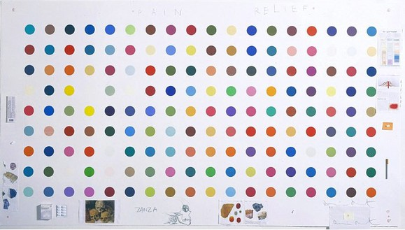 Damien Hirst, Pain Relief, 2004 Unique print on paper with pencil, ink, collage, cigarette, pills, and pharmaceutical packaging, 43 × 80 inches (109.2 × 203.2 cm)