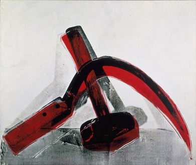 Andy Warhol, Hammer and Sickle, 1976 Synthetic polymer paint and silkscreen ink on canvas, 72 × 86 inches (182.9 × 218.4 cm)© 2006 Andy Warhol Foundation for the Visual Arts/ARS, New York