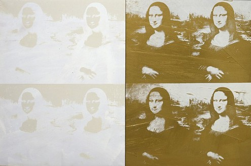 Andy Warhol, Four White on White and Four Gold on White Mona Lisas, 1980 Acrylic and silkscreen on linen, 52 ¾ × 80 ⅜ inches (134 × 204.2 cm)© 2006 Andy Warhol Foundation for the Visual Arts/ARS, New York. Courtesy Bischofberger Collection, Switzerland