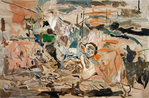 Cecily Brown, A Rubber Monkey Flexing Its Paw, 2005 Oil on linen, 43 × 65 inches (109.2 × 165.1 cm)