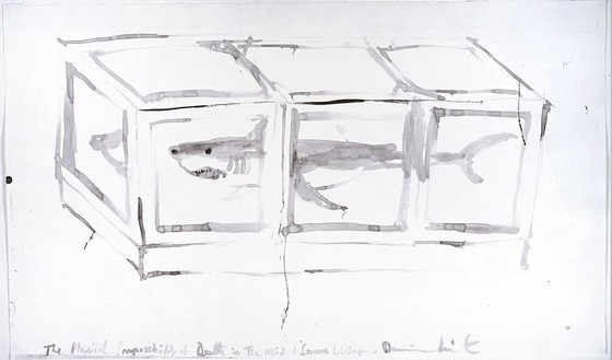 Damien Hirst, Untitled (The Physical Impossibility of Death in the Mind of Someone Living), 1991 Watercolor on paper, 18 × 30 ½ inches (45.7 × 77.4 cm)