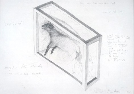 Damien Hirst, Away From the Flock, 1994 Pencil on paper, 19-11/16 × 28-11/16 inches (50 × 73 cm)