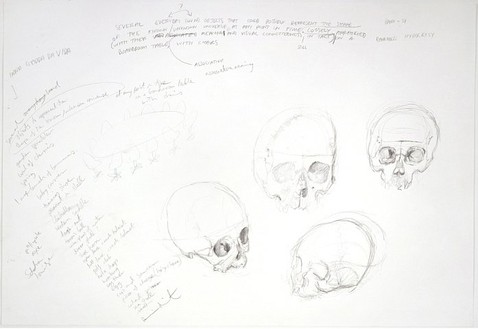 Damien Hirst, Untitled (Four Skulls), 2003 Pencil on paper, 29 ½ × 43 5/16 inches (75 × 110 cm)