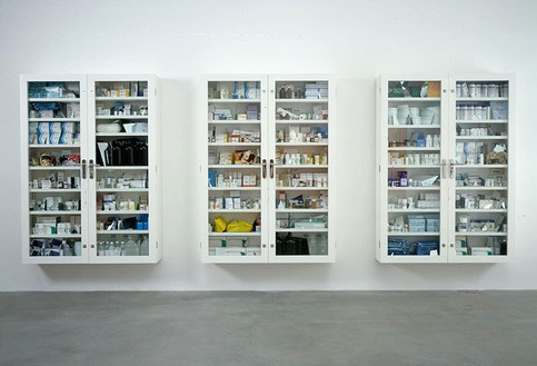 Damien Hirst, No Arts; No Letters; No Society, 2006 Glass and formica cabinets with medical packaging and human skulls, 3 cabinets: 84 × 60 × 14 inches each (213.4 × 152.4 × 35.6 cm)