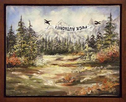 Dan Colen, Fuck Authority, 2006 Oil on canvas, 18 × 22 inches (45.7 × 55.9 cm)