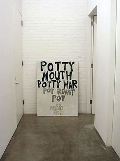 Dan Colen Potty Mouth Potty War, 2006Magic marker on wood board53 1/2 x 40 inches (135.9 x 101.6 cm)Installation view